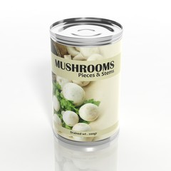 3D mushrooms metallic can isolated on white