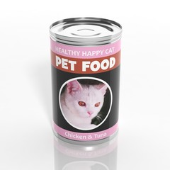 3D cat food metallic can isolated on white