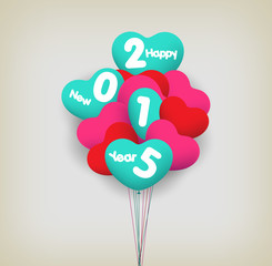 happy new year with balloons
