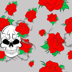 Vector Seamless pattern with skulls and bones  background
