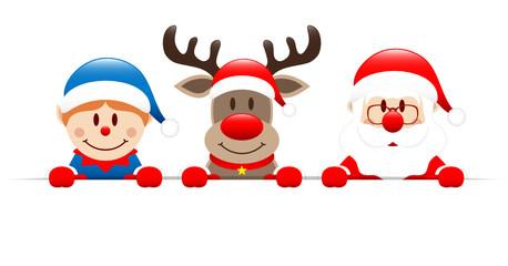 Blue Elf, Rudolph & Santa Banner