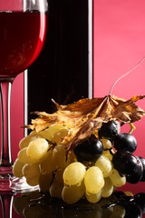 red wine, autumn leaves, grapes