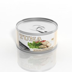 3D tuna metallic can isolated on white