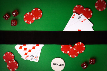 poker background with playing cards