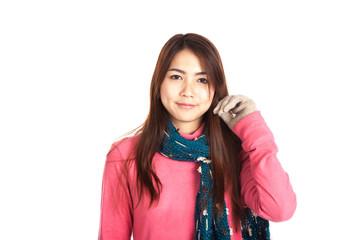 Asian girl smile in winter dress