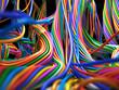 Leinwandbild Motiv Colorful cables. Abstract Technology 3d illustration