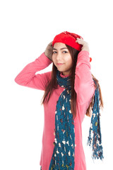Asian girl smile with red christmas hat and scarf