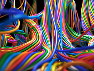 Colorful cables. Abstract Technology 3d illustration
