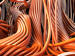 Closeup copper cables. Technology 3d illustration