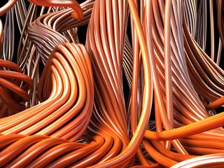 Closeup copper cables. Technology 3d illustration