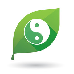 Green leaf icon with a ying yang