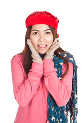 Asian girl with red christmas hat very happy