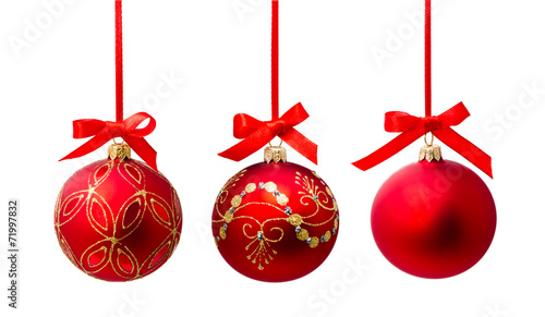 Hunging red christmas ball isolated - 71997832