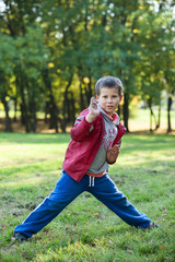 Young boy showing karate techniques in autumn park