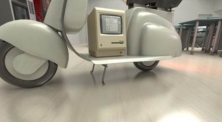 Computer Vintage, vespa, mac, apple