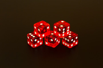numbered dice game isolated in black background