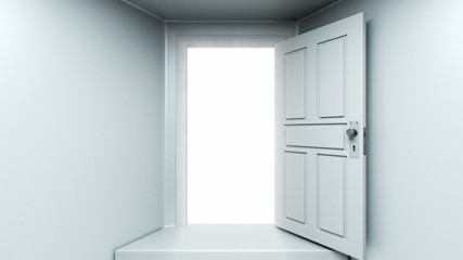 Doors opening to a bright light. Alpha Channel is included.