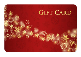 Exclusive red christmas gift card with golden snowflakes