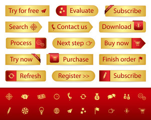 Gold web buttons with different bookmarks and icons