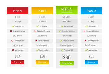 Light pricing table with 4 plans