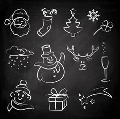 Doodle Set Kreidetafel - Weihnachten