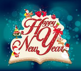 Happy new year vintage design