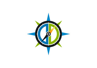 compass logo, abstract navigator symbol vector