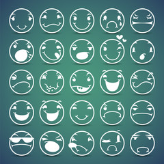 Cartoon Facial Espressions Icons Set