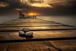Leinwandbild Motiv Sea sunrise at the Black Sea coast near Varna, Bulgaria
