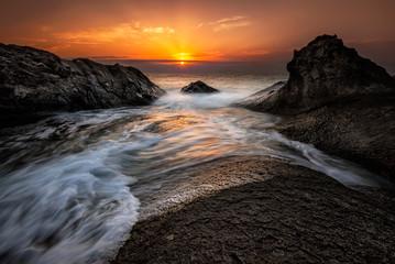 Sea sunrise at the Black Sea coast near Rezovo, Bulgaria