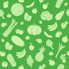 Green seamless background of fruit and vegetables