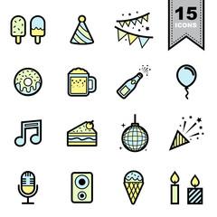 Party ine icons set