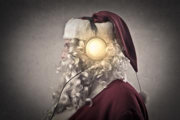 Santa is listening to music