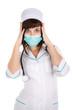 surprised woman doctor or nurse in mask