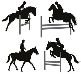 Horses jumping a hurdle. Vector silhouettes set. EPS 10