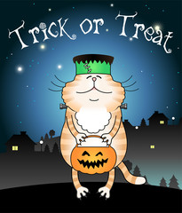Illustration of funny cat trick or treating