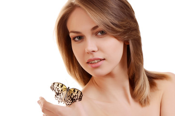 The beautiful woman with the butterfly