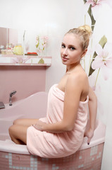 The beautiful woman in a bathroom