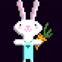 8 bit pixel funny rabbit  pattern
