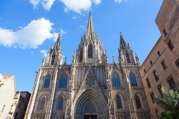 Facade Cathedral of Holy Cross and Saint Eulalia, Barcelona