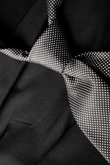 Black and White Tie on Black Suite