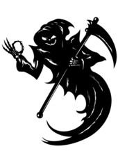 Funny Grim Reaper with OK gesture in vector EPS format