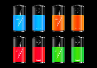 Colorful batteries collection