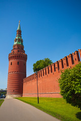 Kremlin wall view with tower in summer