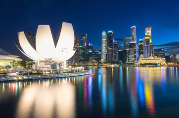 Singapore city skyline on twilight time