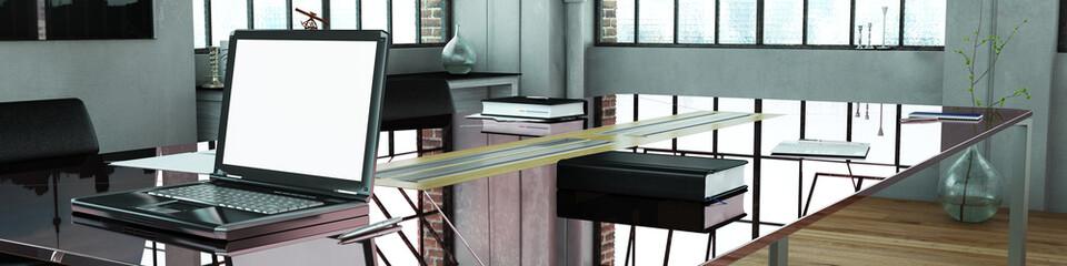 Panorama vom Büro mit Glastisch und Computer