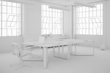 Büro in weiß mit Möbeln