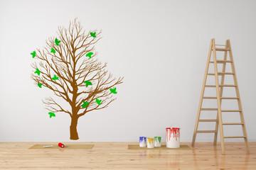 Wand mit Baum als Wandtattoo