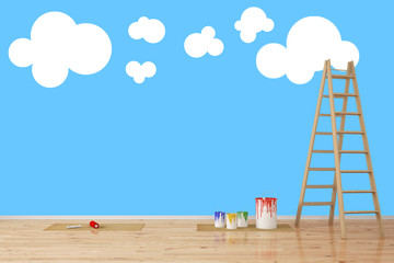 Wolken an Wand im Kinderzimmer