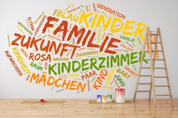 Konzept zu Familie und Kinder an der Wand